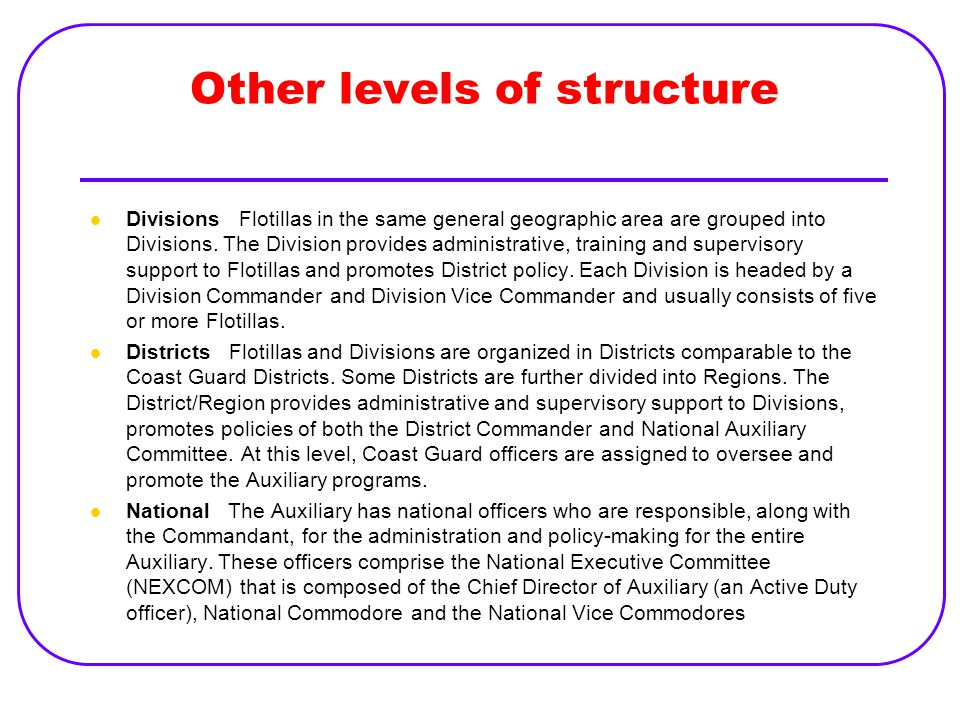 Other levels of structure
