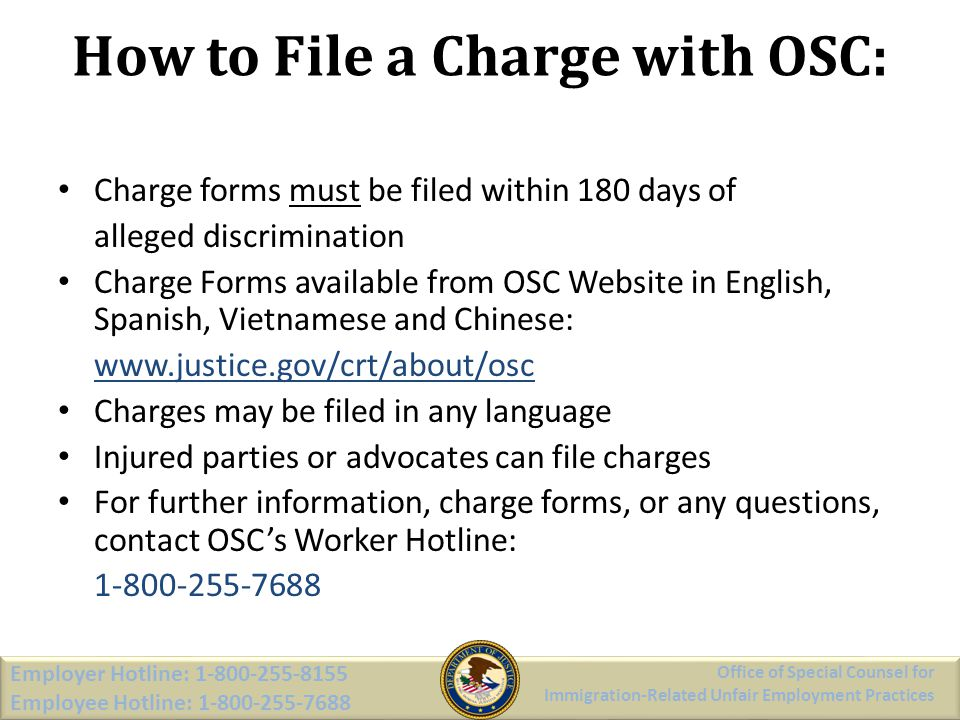 How to File a Charge with OSC: