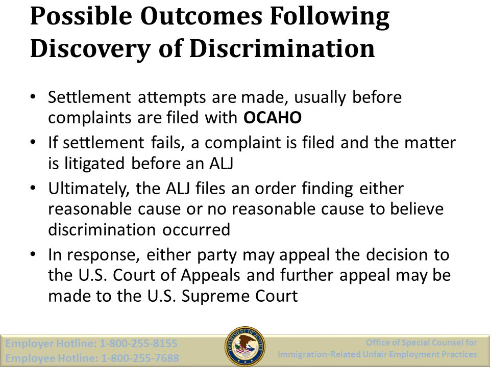 Possible Outcomes Following Discovery of Discrimination