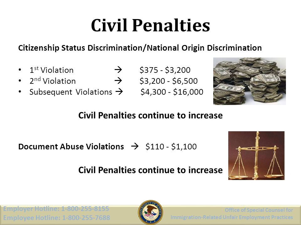 Civil Penalties continue to increase