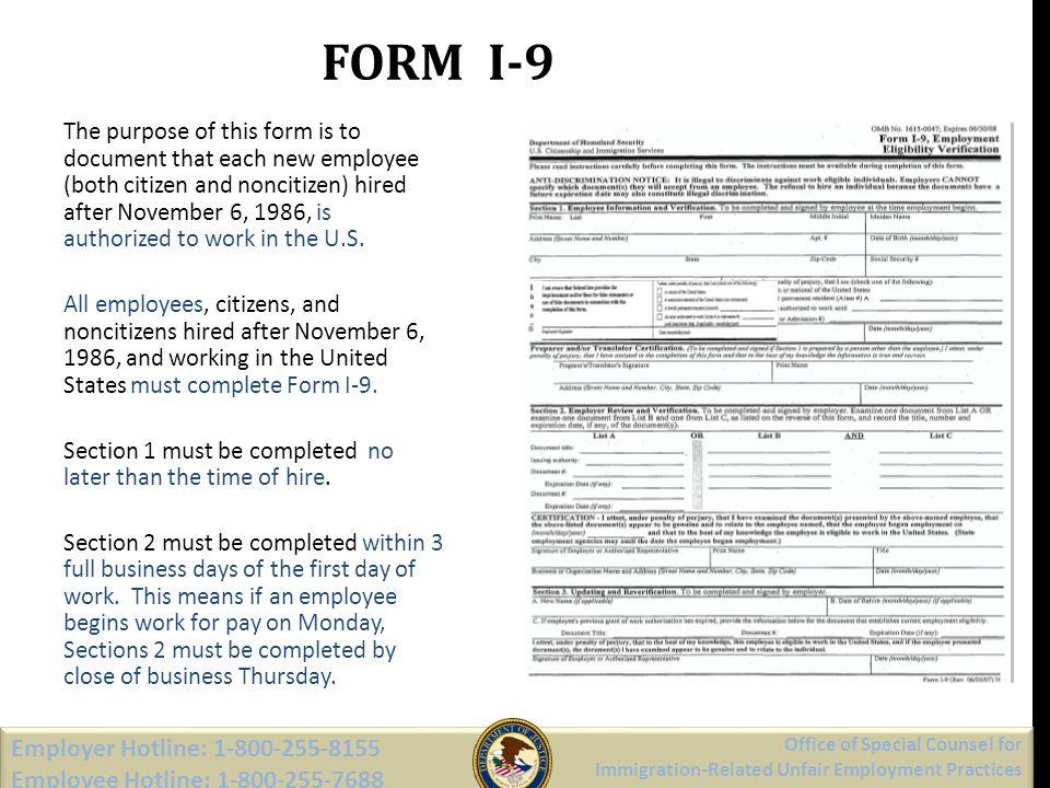 FORM I-9 Employer Hotline: 1-800-255-8155