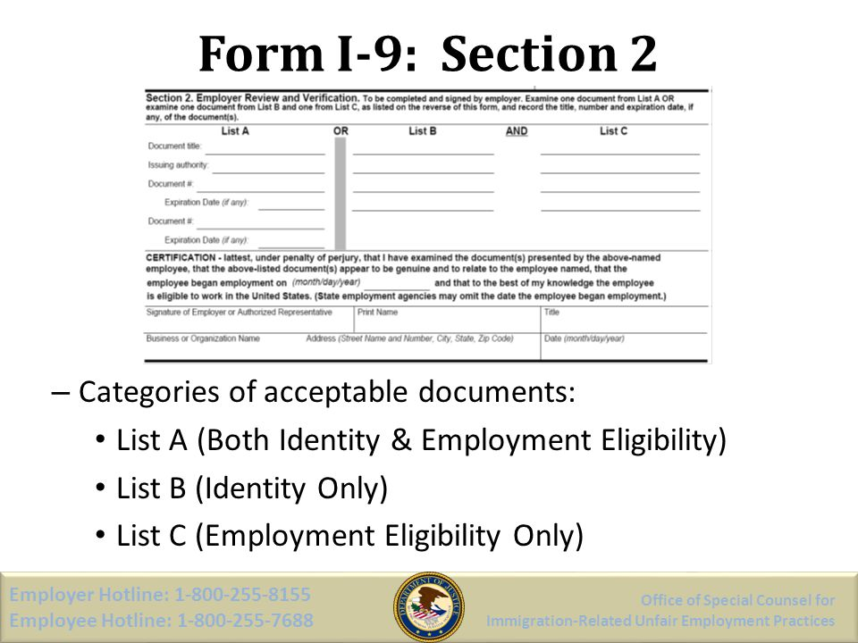 Form I-9: Section 2 Categories of acceptable documents: