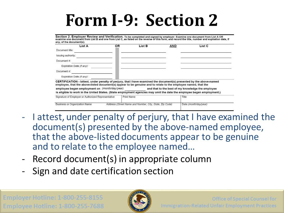 Form I-9: Section 2