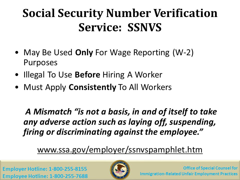 Social Security Number Verification Service: SSNVS