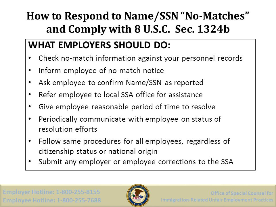 How to Respond to Name/SSN No-Matches and Comply with 8 U. S. C. Sec