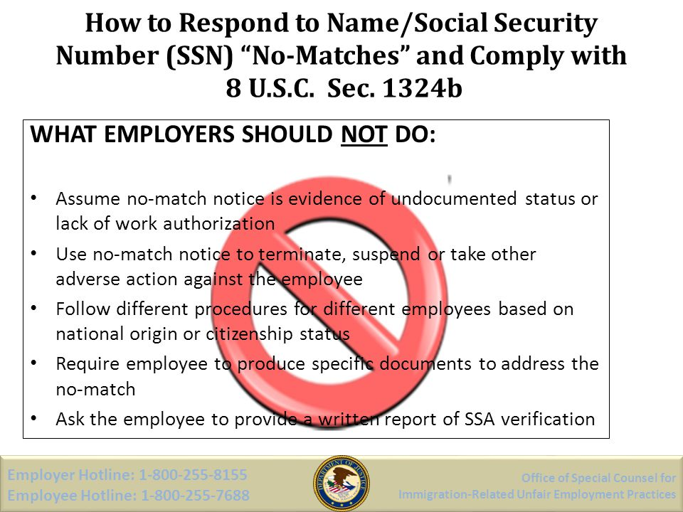 How to Respond to Name/Social Security Number (SSN) No-Matches and Comply with 8 U.S.C. Sec. 1324b