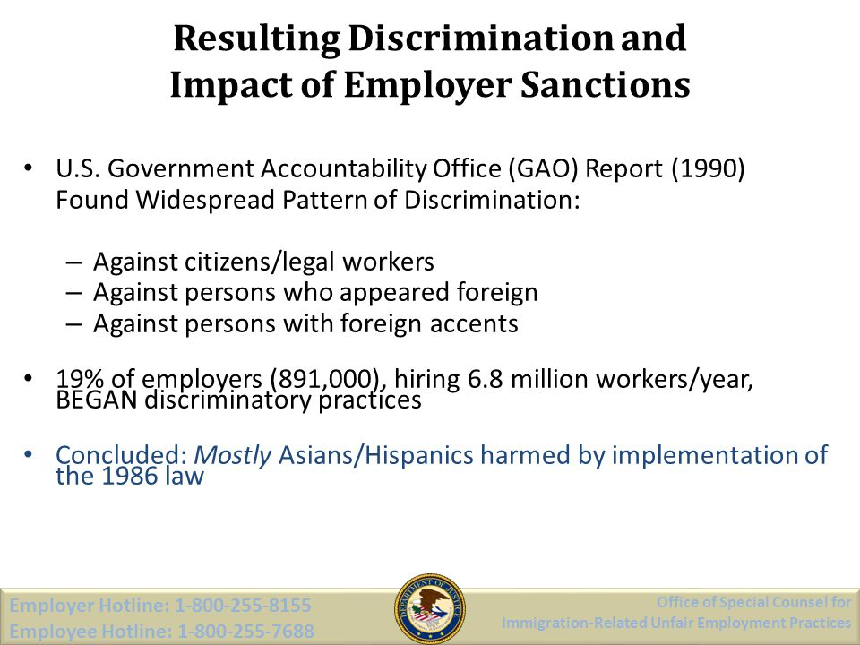 Resulting Discrimination and Impact of Employer Sanctions