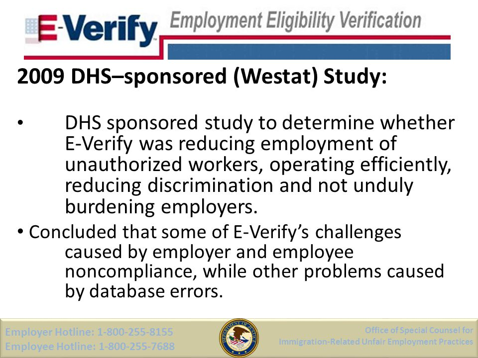 2009 DHS–sponsored (Westat) Study: