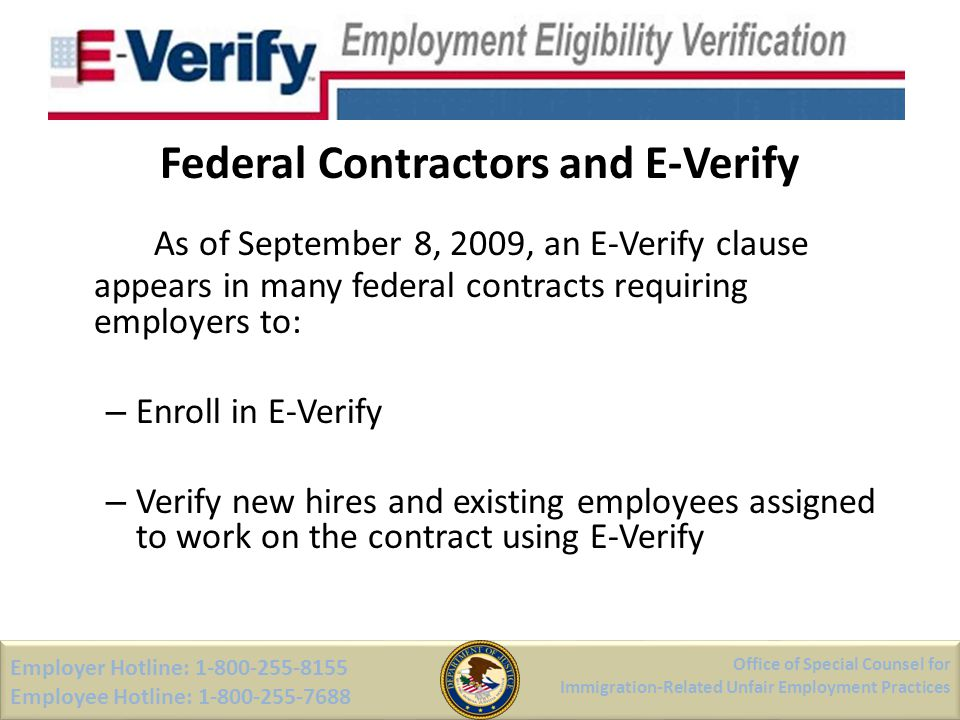 Federal Contractors and E-Verify