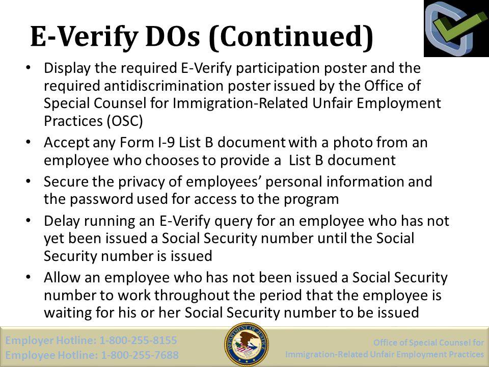 E-Verify DOs (Continued)