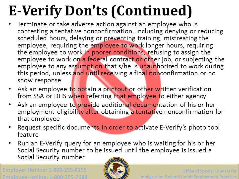 E-Verify Don'ts (Continued)