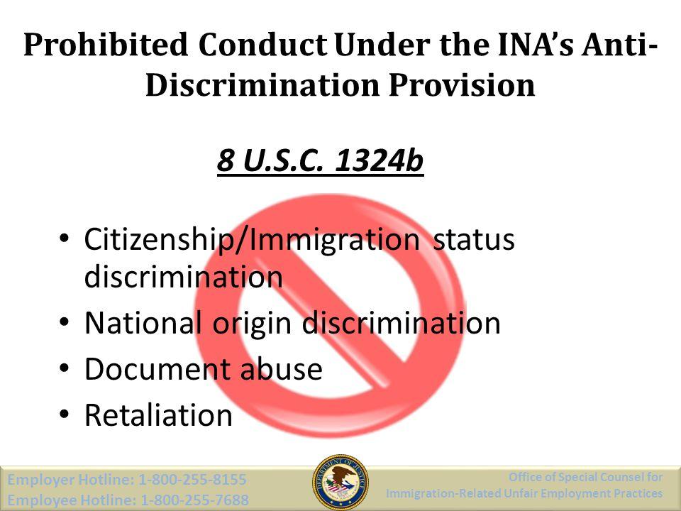 Prohibited Conduct Under the INA's Anti-Discrimination Provision