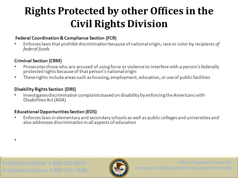 Rights Protected by other Offices in the Civil Rights Division