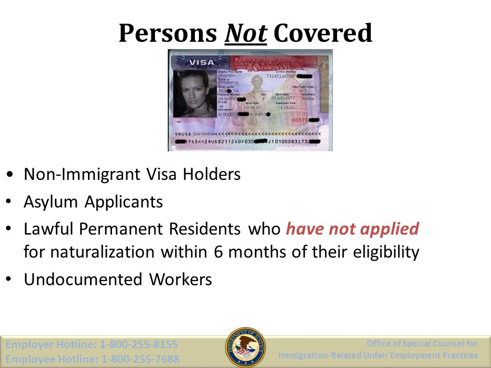 Persons Not Covered Non-Immigrant Visa Holders Asylum Applicants