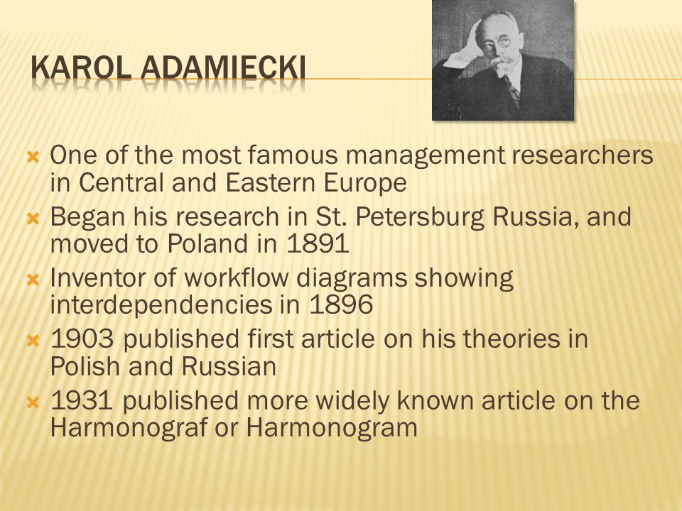Karol Adamiecki One of the most famous management researchers in Central and Eastern Europe.