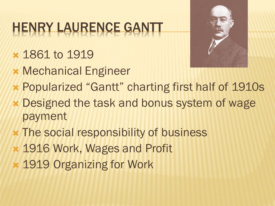 Henry laurence gantt 1861 to 1919 Mechanical Engineer