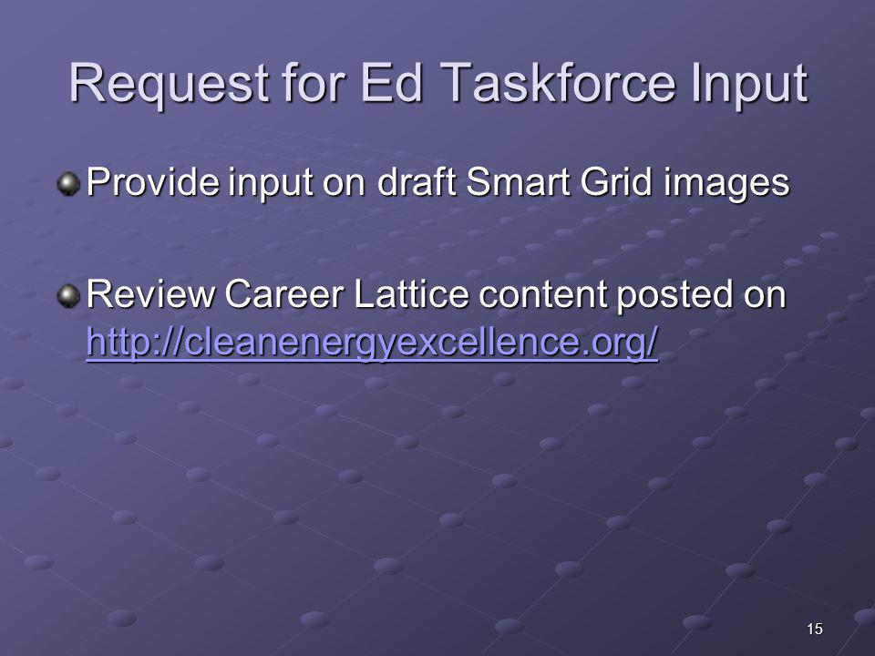 Request for Ed Taskforce Input