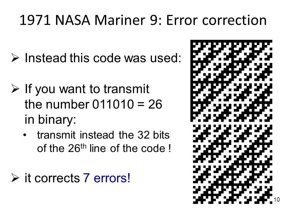 1971 NASA Mariner 9: Error correction
