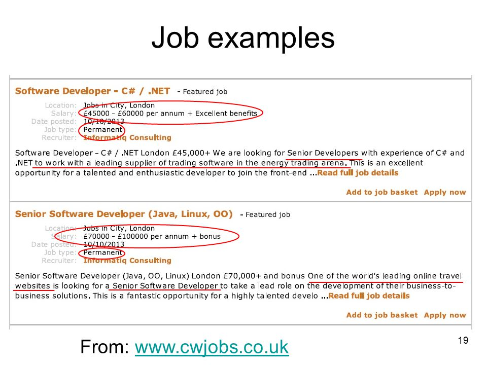 Job examples From: www.cwjobs.co.uk 19