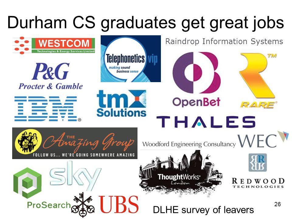 Durham CS graduates get great jobs