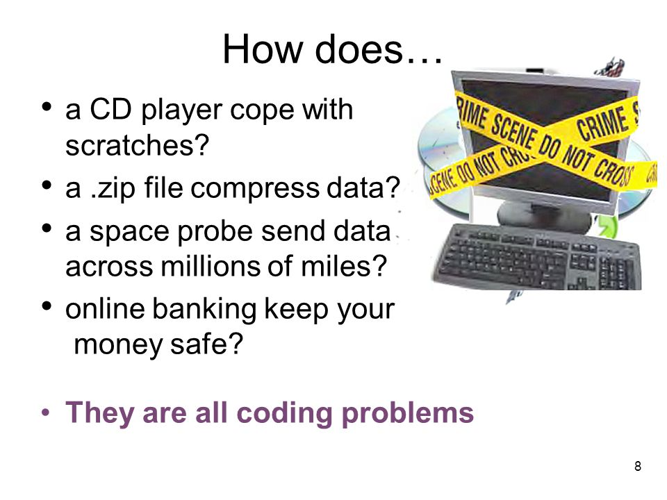 How does… a CD player cope with scratches a .zip file compress data