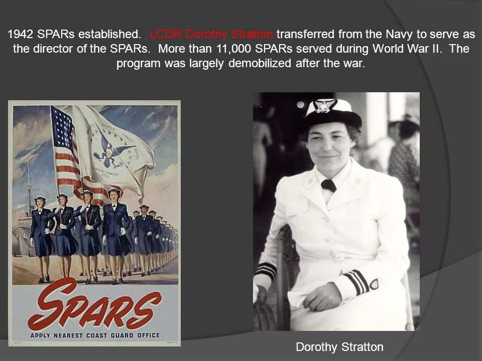 1942 SPARs established. LCDR Dorothy Stratton transferred from the Navy to serve as the director of the SPARs. More than 11,000 SPARs served during World War II. The program was largely demobilized after the war.