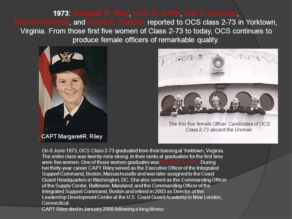 1973: Margaret R. Riley, Lynn W. Smith, Sue E. Jennings,