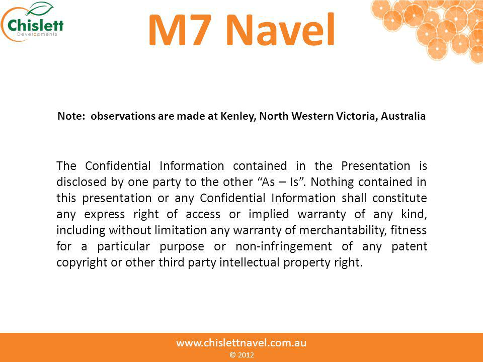 M7 Navel Note: observations are made at Kenley, North Western Victoria, Australia.