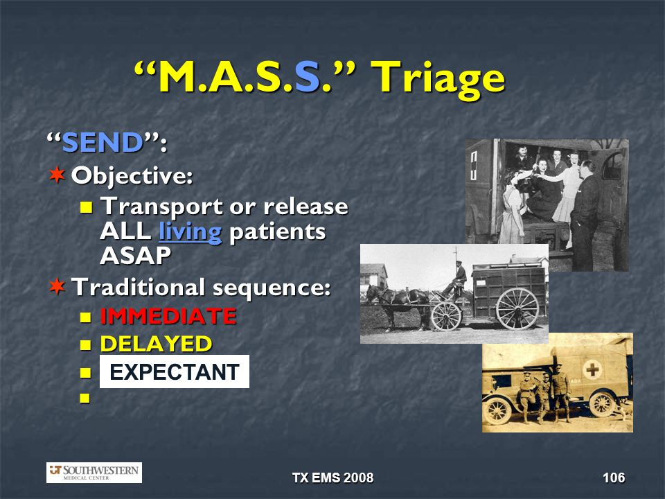 M.A.S.S. Triage SEND : Objective: