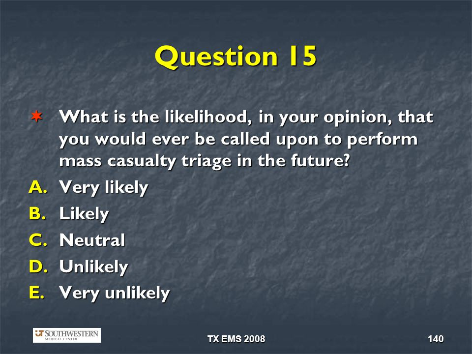 Question 15 What is the likelihood, in your opinion, that you would ever be called upon to perform mass casualty triage in the future