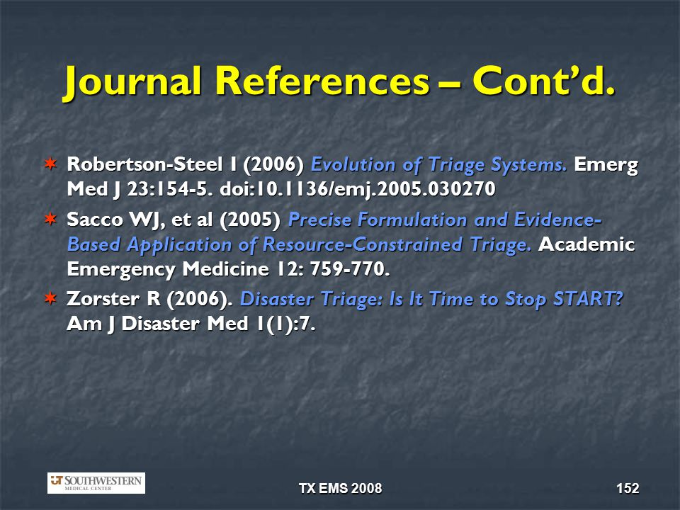 Journal References – Cont'd.
