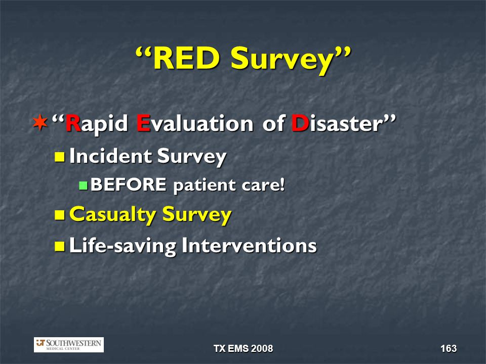 RED Survey Rapid Evaluation of Disaster Incident Survey