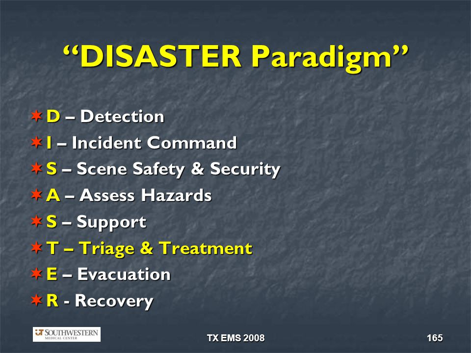 DISASTER Paradigm D – Detection I – Incident Command