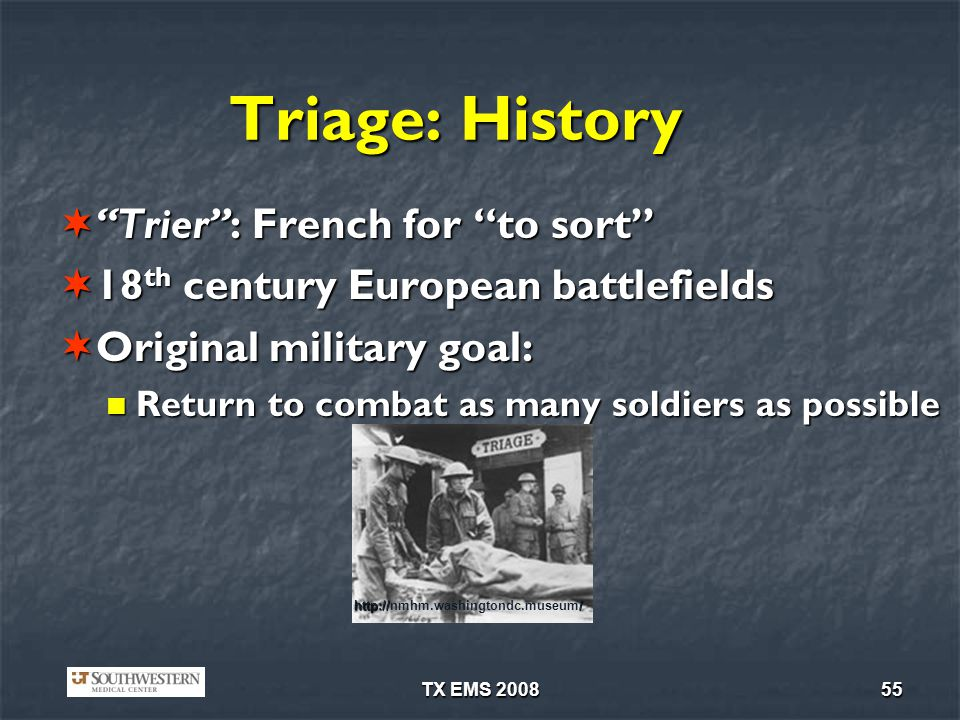Triage: History Trier : French for to sort