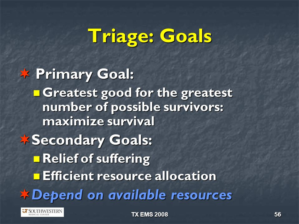 Triage: Goals Primary Goal: Secondary Goals: