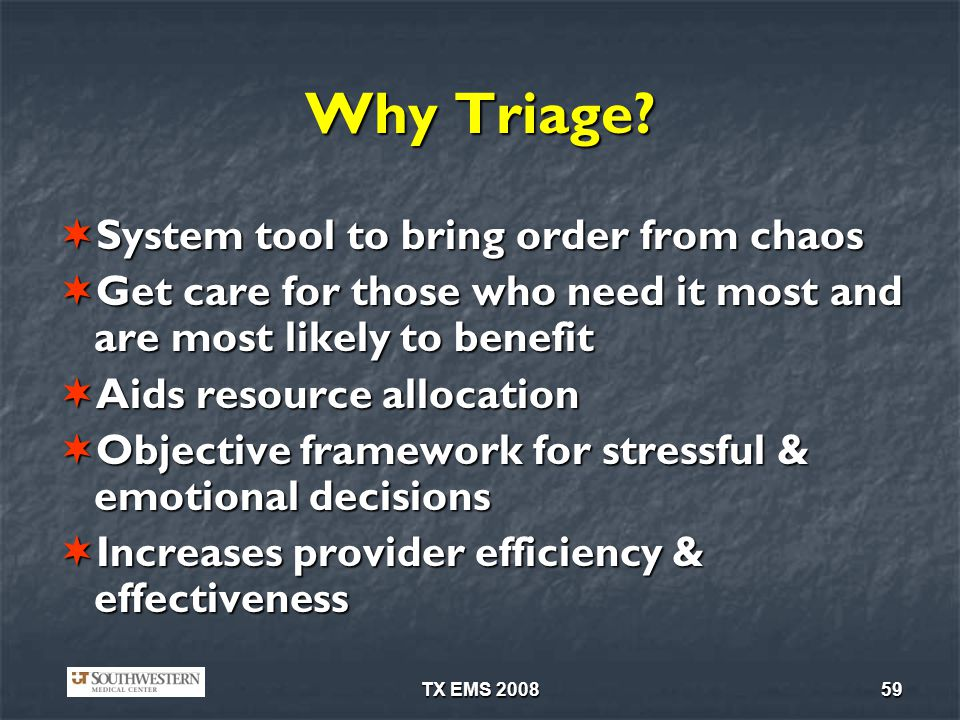 Why Triage System tool to bring order from chaos