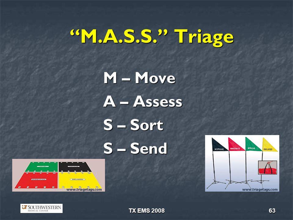 M.A.S.S. Triage A – Assess S – Sort S – Send M – Move TX EMS 2008