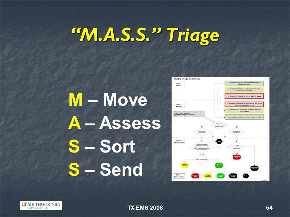M.A.S.S. Triage M – Move A – Assess S – Sort S – Send TX EMS 2008