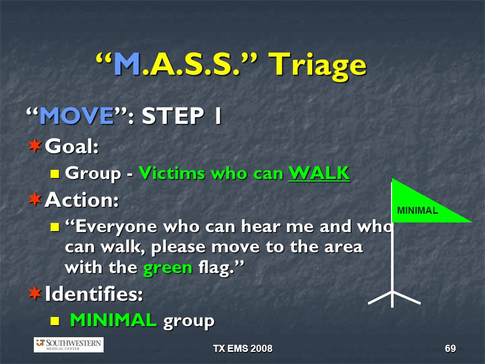 M.A.S.S. Triage MOVE : STEP 1 Goal: Action: Identifies: