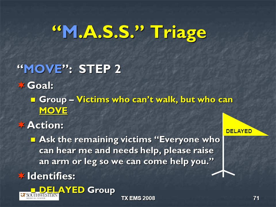 M.A.S.S. Triage MOVE : STEP 2 Goal: Action: Identifies: