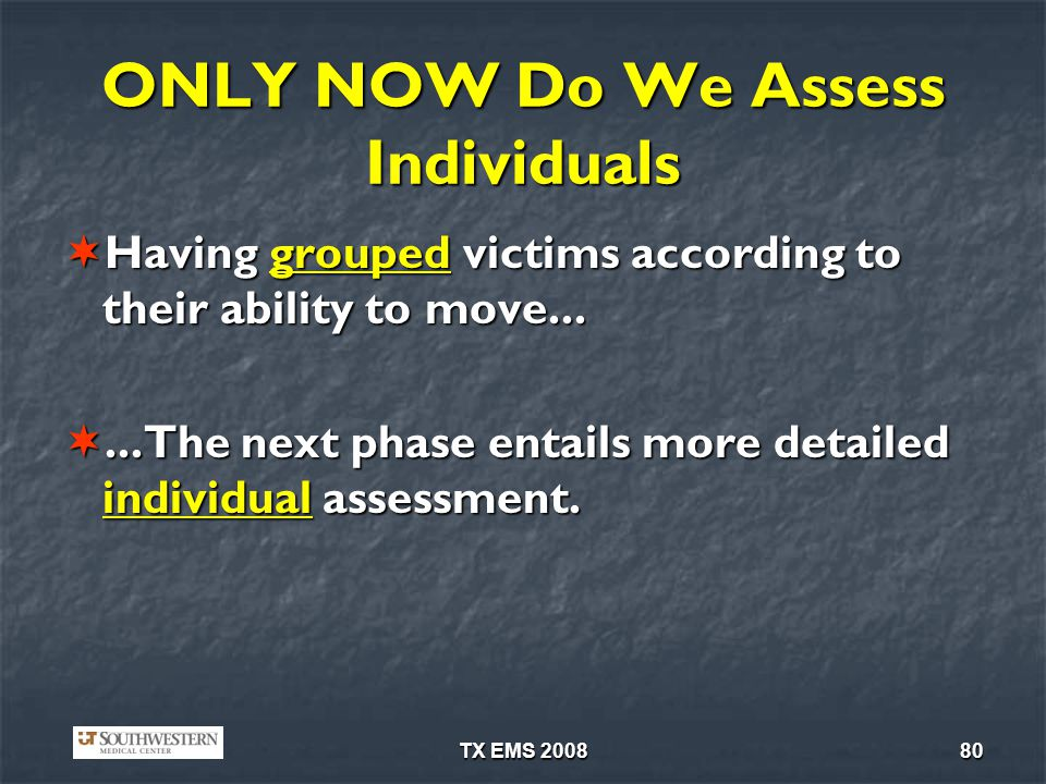 ONLY NOW Do We Assess Individuals