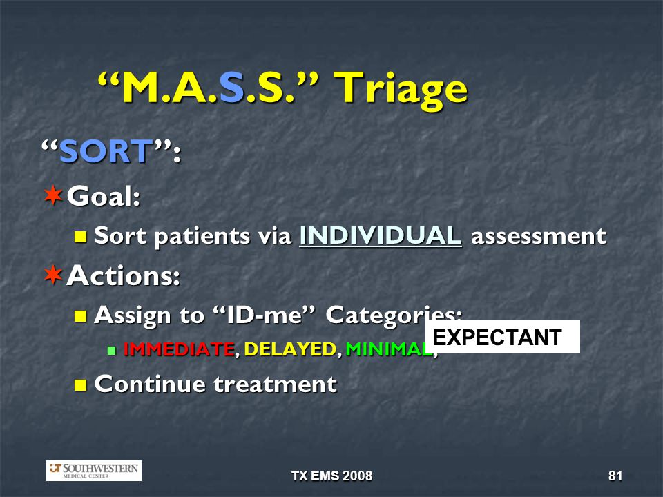 M.A.S.S. Triage SORT : Goal: Actions: