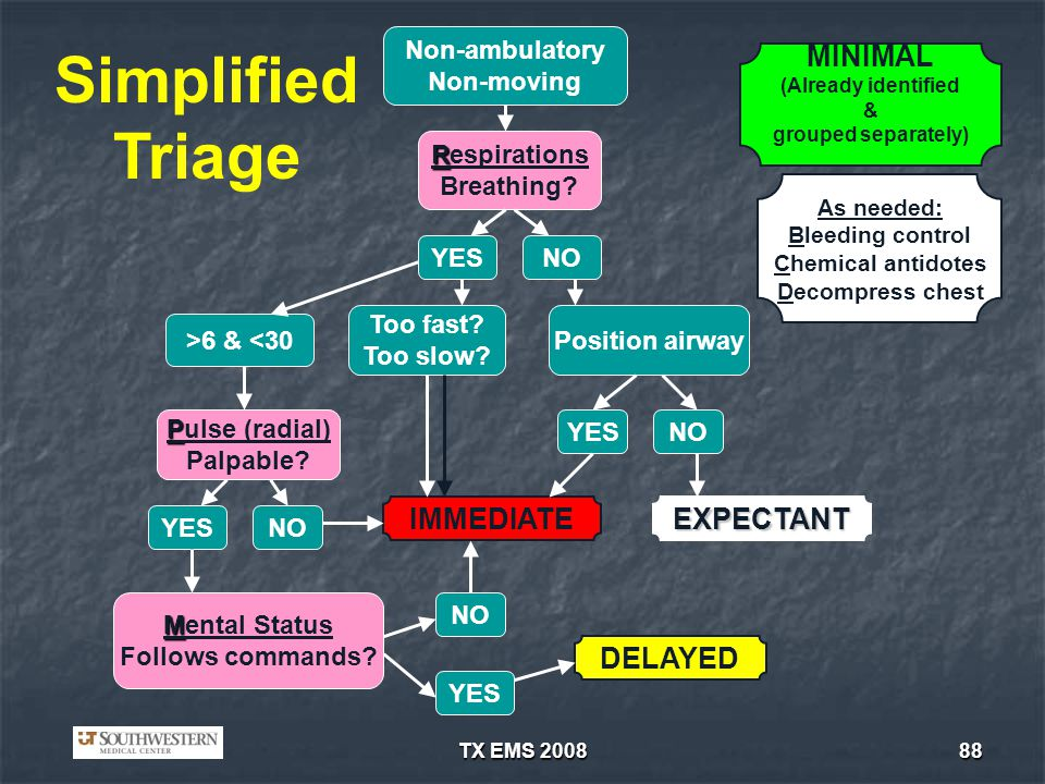 Simplified Triage MINIMAL IMMEDIATE EXPECTANT DELAYED Non-ambulatory