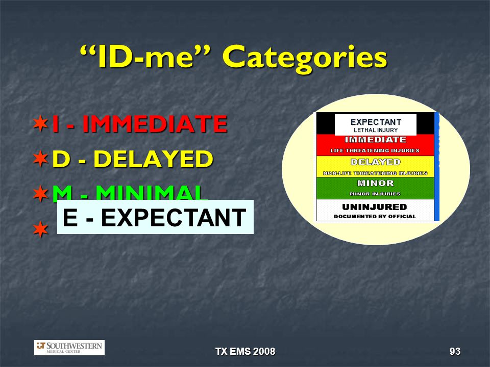 ID-me Categories I - IMMEDIATE D - DELAYED M - MINIMAL E - EXPECTANT