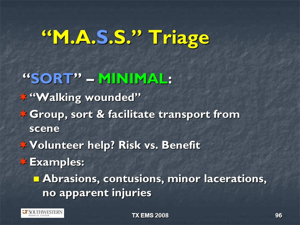 M.A.S.S. Triage SORT – MINIMAL: Walking wounded