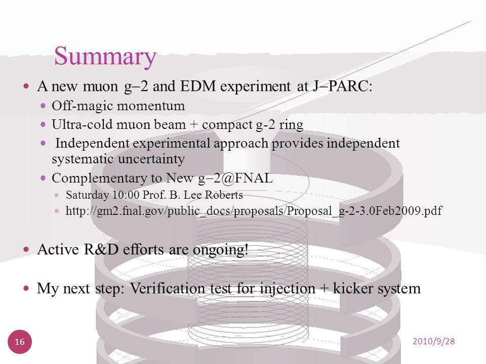 Summary A new muon g2 and EDM experiment at JPARC: