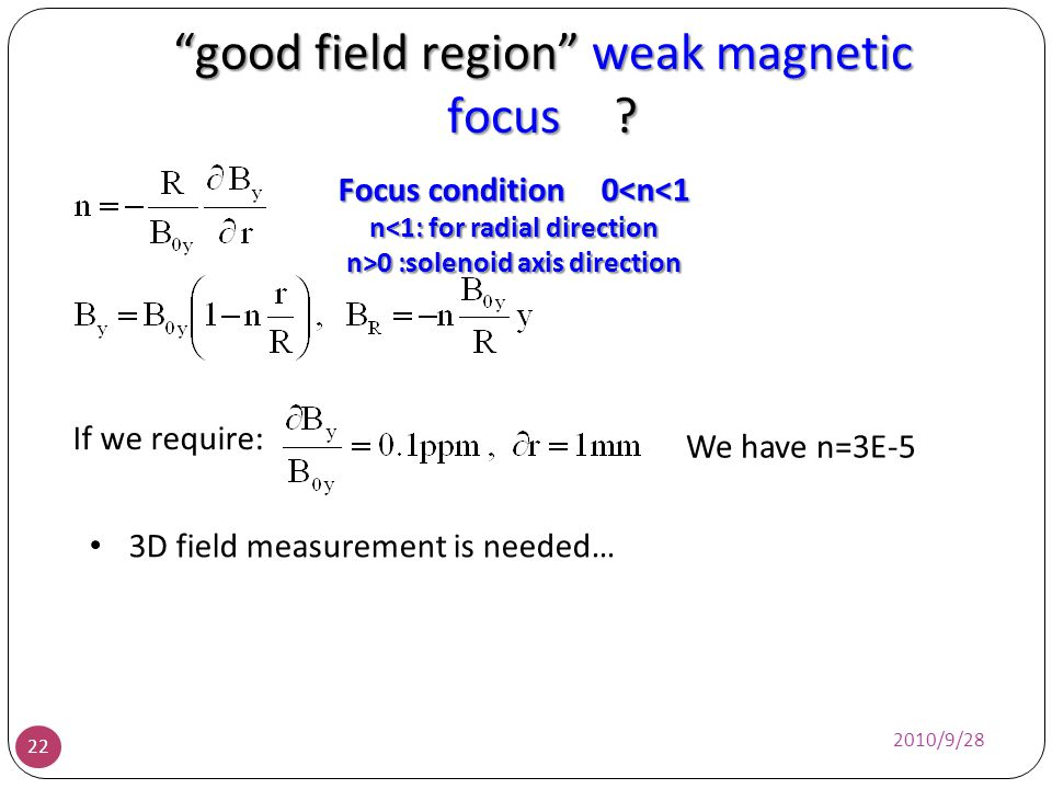 good field region weak magnetic focus