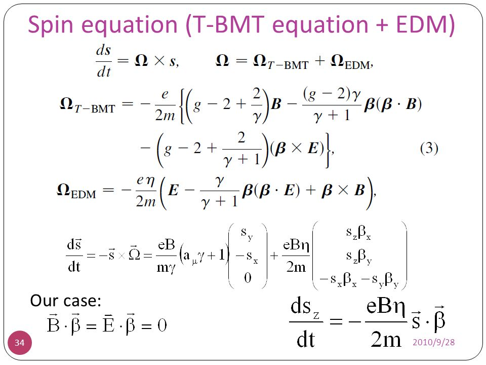 Spin equation (T-BMT equation + EDM)