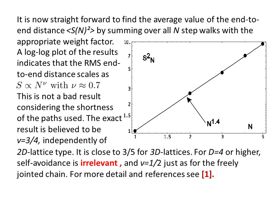 It is now straight forward to find the average value of the end-to- end distance <S(N)²> by summing over all N step walks with the appropriate weight factor.
