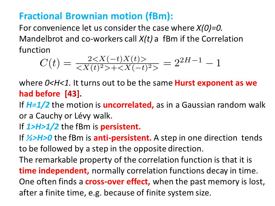 Fractional Brownian motion (fBm):